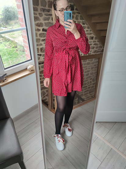 Robe Chemise Rouge à Pois