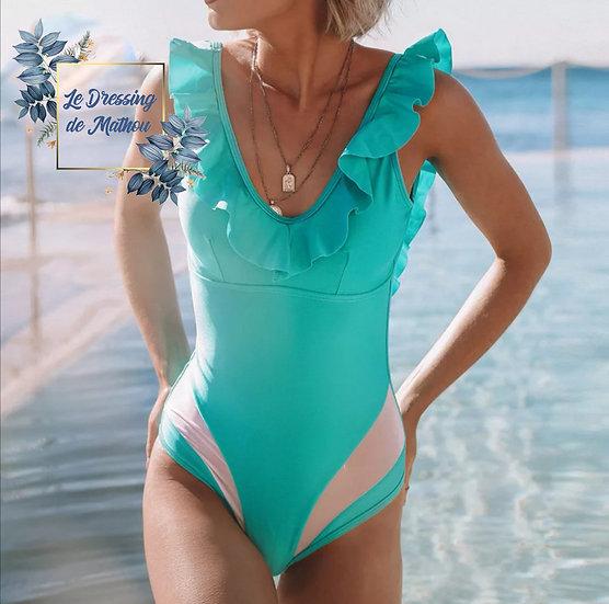 Maillot de bain Turquoise & Volants