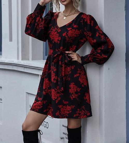 Robe Noir & Fleurs Rouge