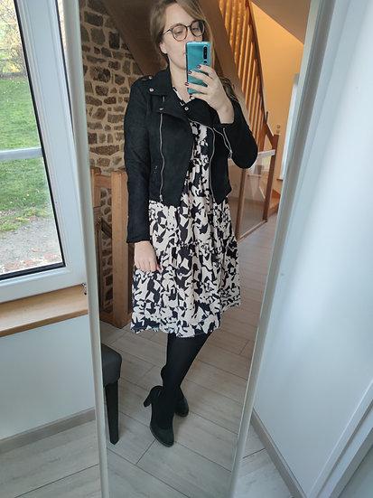 Robe mi longue Imprimé Noir et Blanc