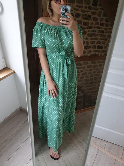 Robe longue Verte Pois