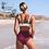 Thumbnail: Bikini Taille Haute Bordeaux & Fleurs