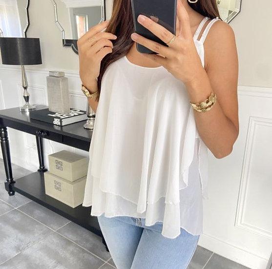 Top Blanc & Perles