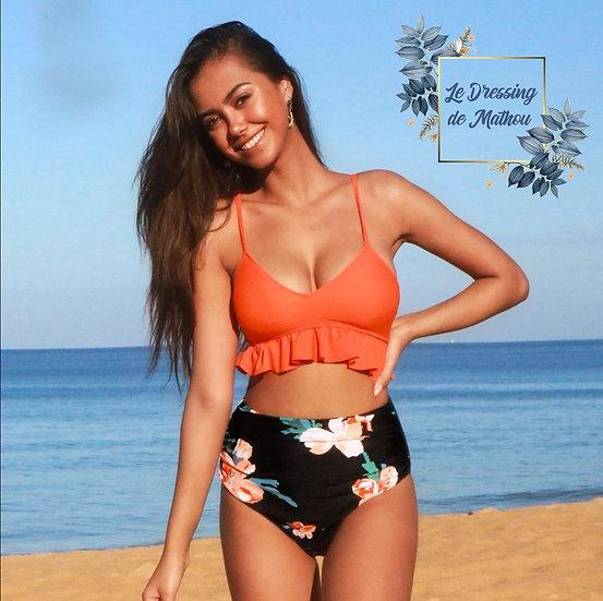 Bikini Orange & Bas Fleur Noir