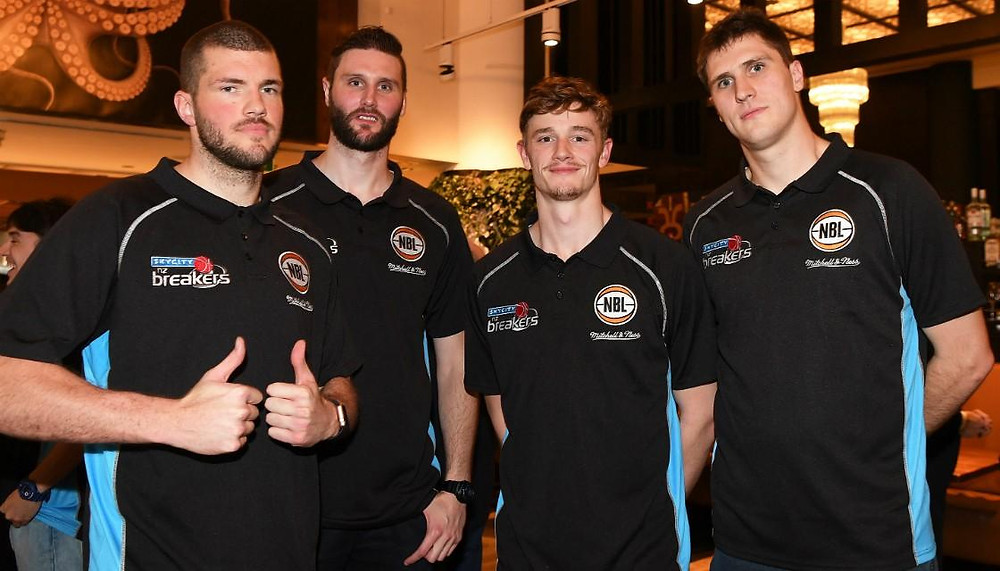 James Hunter with Alex Pledger, Finn Delany and Rob Loe. Photo credit: Photosport