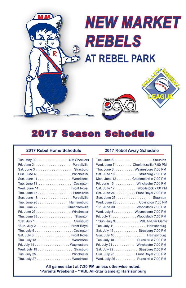 New Market Rebels 2017 Schedule