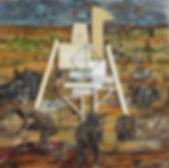 102 BAD MOLES OLEO, COLLAGE-TELA 30 X 30