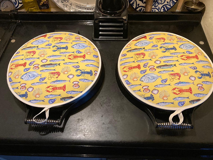 Yellow Fish Aga Covers (Pair)