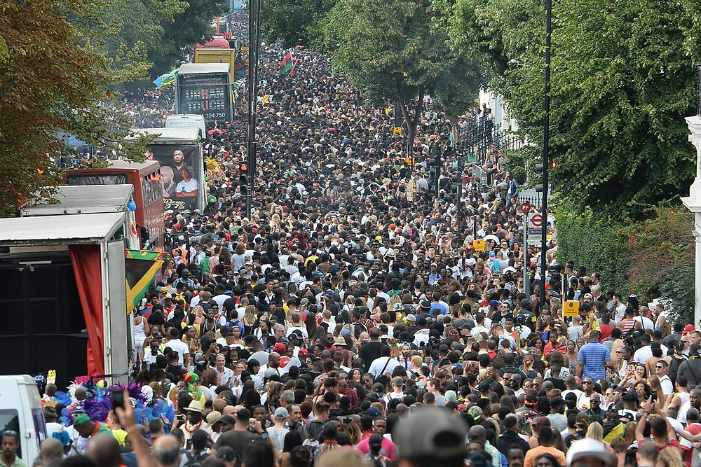 Bird-eye view of carnival-goers at Notting Hill Carnival