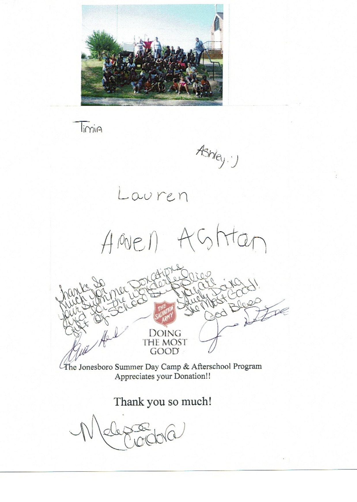 Thank you notes 2015 - Salvation Army