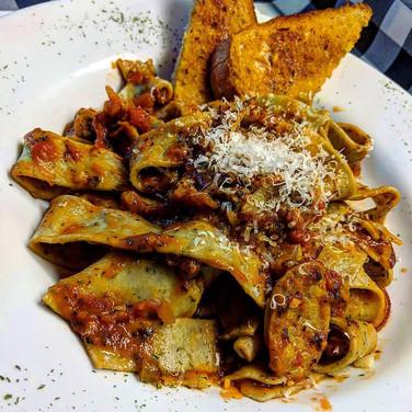 Fresh Herb Tagliatelle with Italian Sausage