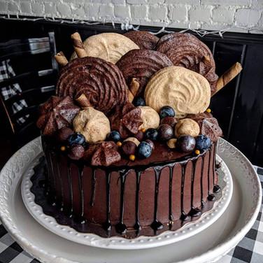 Chocolate Cake with Mocha Buttercream, Chocolate, Espresso and Mocha Meringues