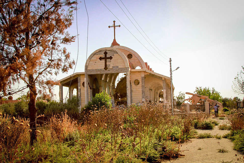 One of the many churches destroyed by ISIS in Tel Nasri, Syria.  2015 Khabour River Valley, Syria