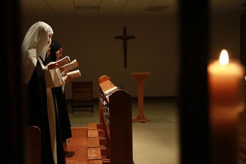 Cloistered nuns pray Morning Prayer at St. Dominic's Monastery in Linden, Virginia.  2014 Linden, Virginia