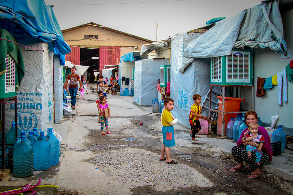 A photo from one of the Christian refugee camps in Erbil, Iraq.  2015 Erbil, Iraq
