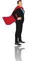 Superhero business man with cape