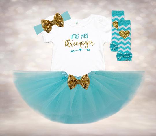 Little Miss Threenager - Aqua&Gold