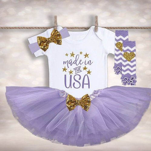 Baby Girl's Made in the USA Outfit