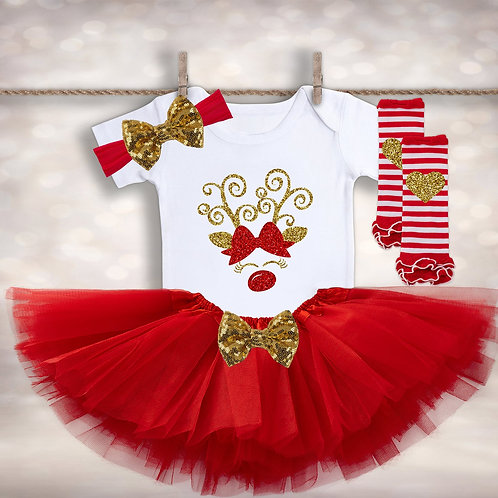 Baby Girl's Rudolph Outfit
