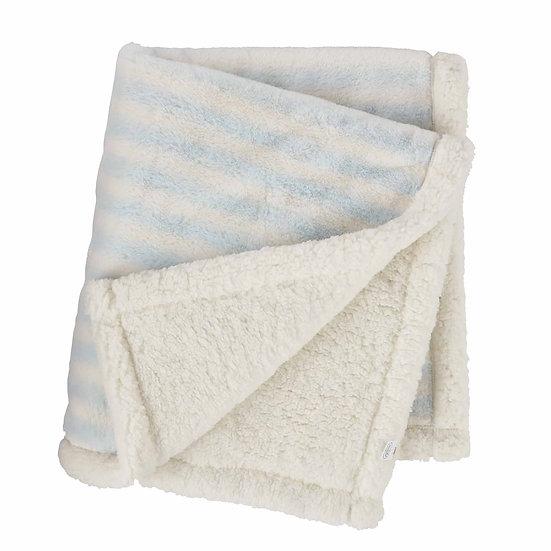 Blue Striped Faux Fur Blanket by MudPie