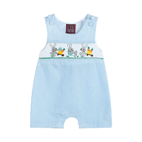 Blue Striped Seersucker Bunnies Romper
