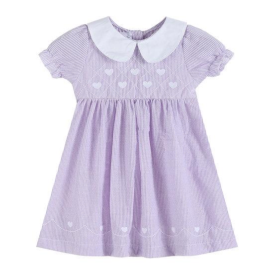 Lavender Seersucker Hearts A-Line Dress