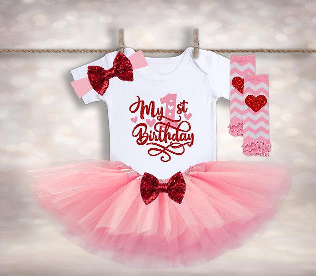 My First Birthday - Pink&Red