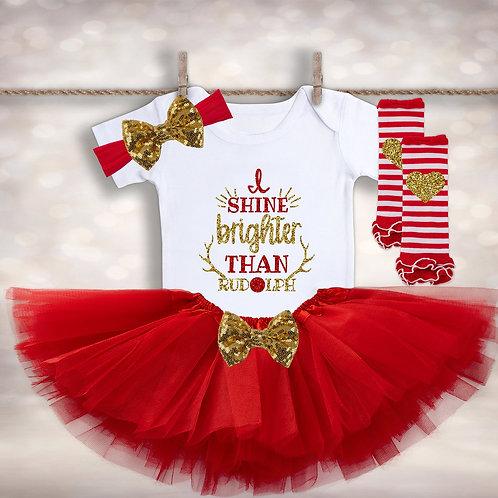Baby Girl's Rudolph Tutu Set