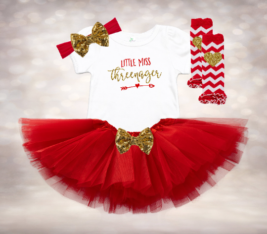 Little Miss Threenager - Red&Gold