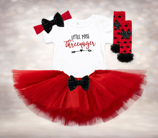 Little Miss Threenager - Red&Black