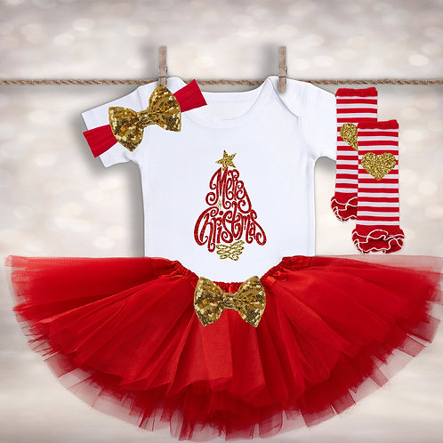 Baby Girl's Christmas Tree Outfit