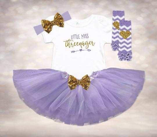 Little Miss Threenager - Lavender&Gold