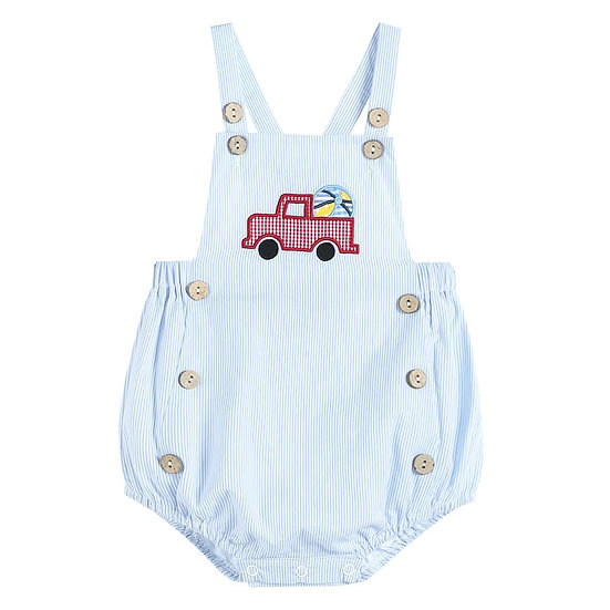 Blue Stripe Button Romper with Truck