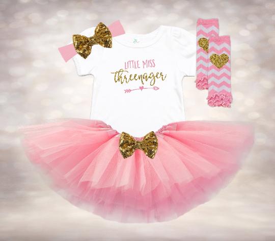 Little Miss Threenager - Pink&Gold