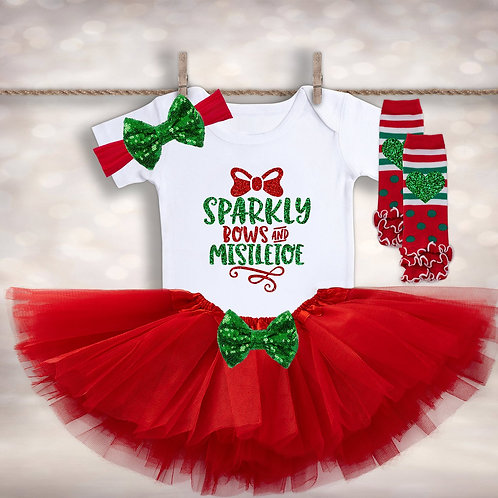 Sparkly Bows & Mistletoe Outfit