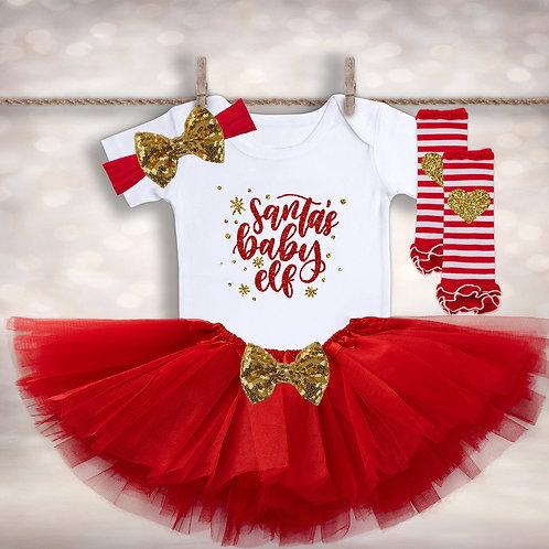 Santa's Baby Elf Tutu Outfit