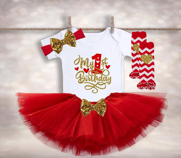 My First Birthday - Red&Gold