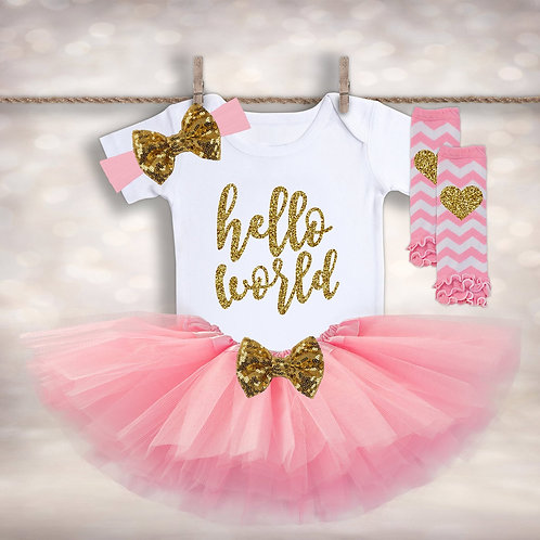 Baby Girl's Hello World Outfit