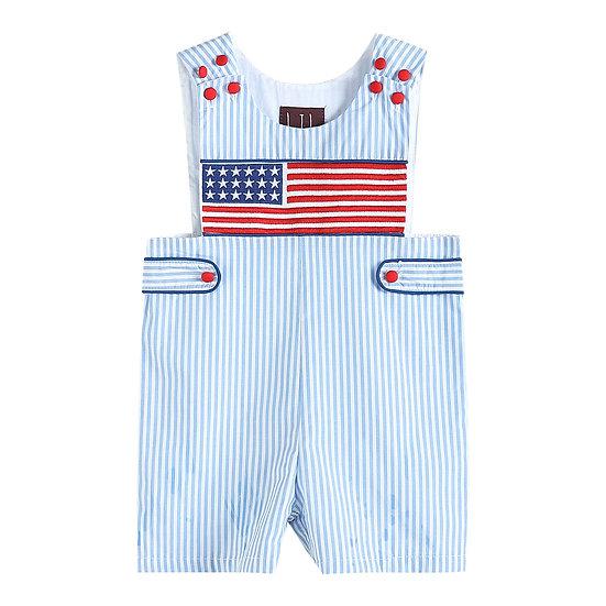 Light Blue Striped Americana Smocked Shortalls