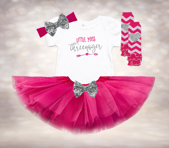 Little Miss Threenager -Fuchsia&Silver