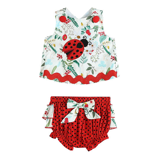 White and Red Ladybug Top and Ruffle Romper Set