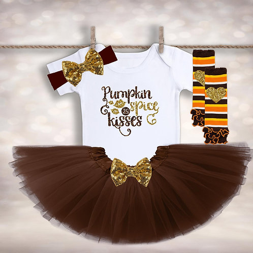 Girls Pumpkin Spice Kisses Outfit