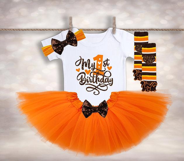 My First Birthday - Orange&Brown