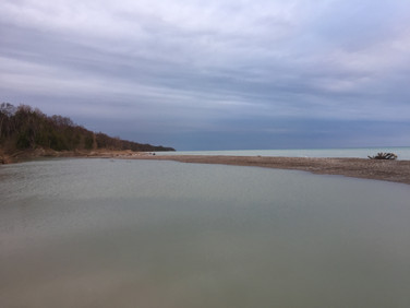eighteen mile river mouth at lake huron