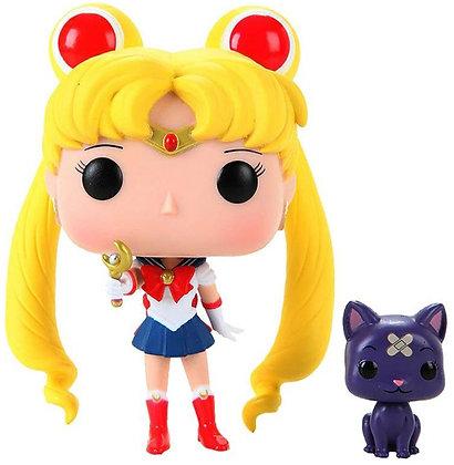 Sailor Moon with Moon Stick and Luna - Sailor Moon - Pop Funko