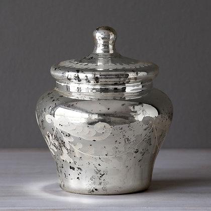 Vaso Vintage plata con tapa grande