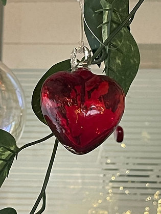 Corazón de Vidrio Soplado Rojo