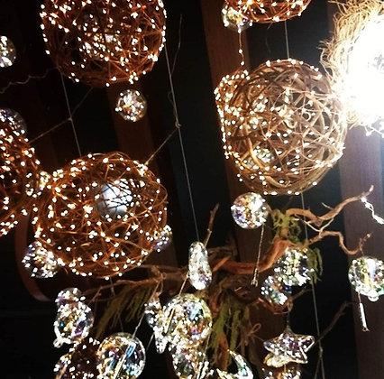 Serie de luces led cobre con Esfera de liana