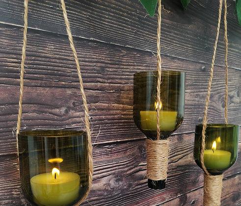 Botella Cortada Inversa con Tea Light integrado