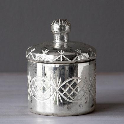 Vaso Vintage plata con tapa chico